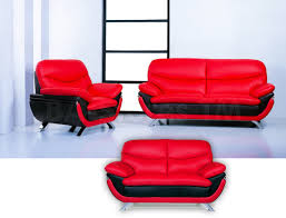 3 Pc Living Room Set Sofa Sets Jonus 3 Pc Sofa Set Black Red Leather Jonus Living