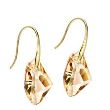 dangle earring gold plated yellow austrian dangle earring for women