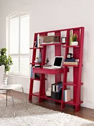 red ladder bookcase with small laptop table for study room design