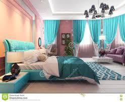 Schlafzimmerm El Betten Schlafzimmer Mit Einem Bett Und Einem Sofa Rosa Vorhänge Stock