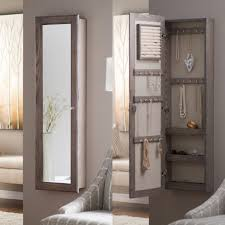 wall mounted locking mirrored jewelry armoire driftwood hayneedle