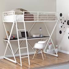 full size metal loft bed with desk bed u0026 headboards