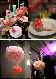 tissue paper centerpiece paper flower and pillar candle