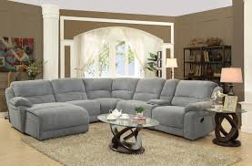 Silver Living Room Furniture Coaster Mackenzie Silver 6 Piece Reclining Sectional Sofa With