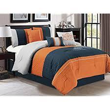 blue and orange bedding amazon com modern 7 piece bedding orange navy blue grey