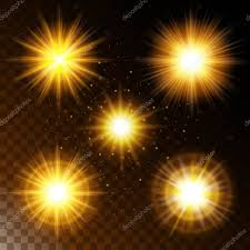 set of glowing light effect star the sunlight warm yellow glow