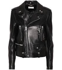 leather boots biker saint laurent leather biker jacket noir argent crystal black women