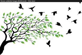 tree silhouette with bird flying vector yayimages com