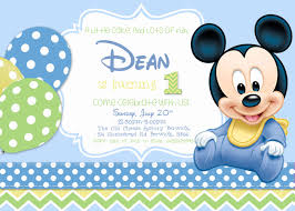 baby mickey mouse 1st birthday invitations iidaemilia com