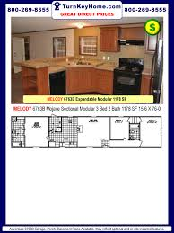 melody 6763b 3 bed 2 bath expandable mobile home plan