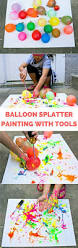 balloon splatter painting with tools fun summer outdoor art