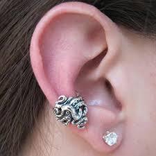 cartilage hoop silver ear cuff octopus ear cuff twist ear cuff octopus