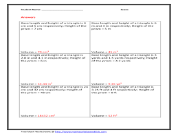 volume of triangular prism 8th 11th grade worksheet lesson planet