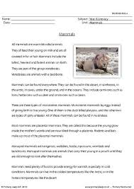 primaryleap co uk reading comprehension mammals worksheet