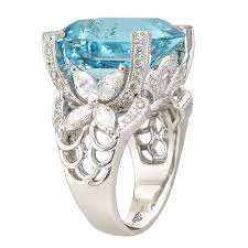 aquamarine and diamond ring 11 09ct emerald cut aquamarine and diamond ring