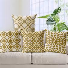 taie d oreiller pour canapé jaune à carreaux rétro géométrique décoratif canapé throw taie d