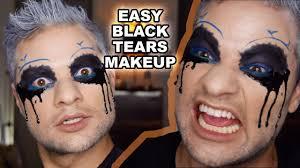 dripping black tears easy halloween makeup tutorial quick