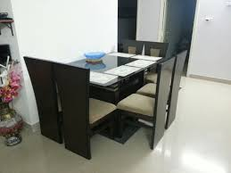 Glass Top Teak Wood Dining Table ApnaComplex Classifieds - Glass top dining table hyderabad