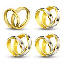 wedding rings in set of realistic vector illustrations of gold wedding rings with
