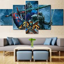 online get cheap transformers poster aliexpress com alibaba group wall art picture home decor posters 5 panel movie transformers character frame living room hd printed