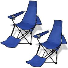 Collapsible Camping Chair Blau 2 Pcs Foldable Camping Chair With Footrest Blue Lovdock Com