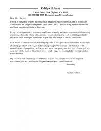 Service Desk Officer Best Front Desk Clerk Cover Letter Exles Livecareer With Work