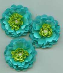 aqua blue and lime green peony paper flowers tropical colors