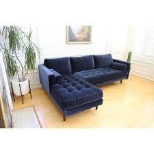 Navy Sectional Sofa Mid Century Modern Navy Blue Velvet Sectional Sofa Chairish
