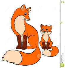 cartoon wild animals for kids fox mother fox with her little