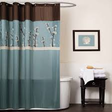 Brown Floral Shower Curtain Stall Fabric Shower Curtains Two Support Brown Wooden Storage