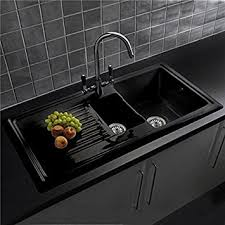 Reginox RLCB  Bowl Black Ceramic Kitchen Sink With Waste - Ceramic kitchen sinks uk