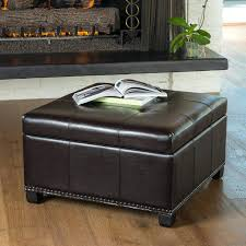 brown leather ottoman coffee table with storage ideal for interior
