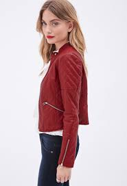 forever 21 quilted faux leather jacket in red lyst