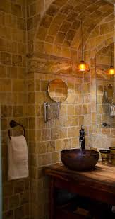 free style small with brick fireplace design rustic stone bathroom