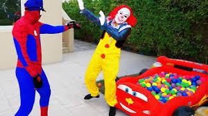 frozen power wheels police spiderman arrest killer clown w bad baby frozen elsa