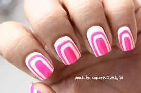 cute pink u0026 white nail art without using tools no tools nail