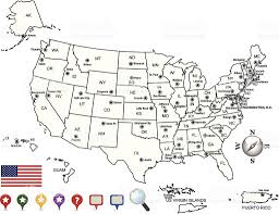 Map Of Usa Capitals by Usa Map Outline With State Capitals And Its Territories Stock