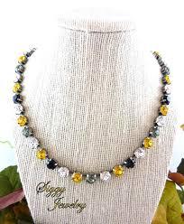 swarovski crystal necklace gold images Swarovski crystal necklace black and gold pittsburgh steelers jpg