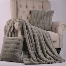 Faux Fur Throw Blanket Silver Rabbit Faux Fur Throw Blanket And Pillow Set Combo The