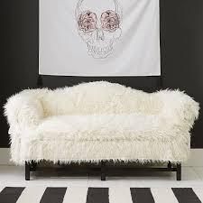 dorm faux fur furlicious sofa slipcovers pbteen