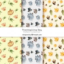 watercolor thanksgiving patterns pack vector free