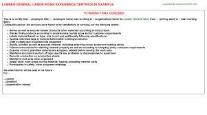 lumber general labor work experience certificate