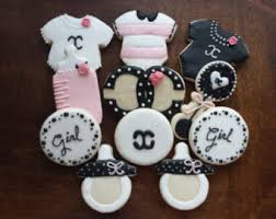 chanel baby shower chanel cookies etsy