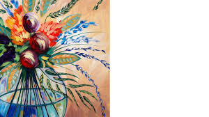 How To Paint A Vase Beginners Acrylic Painting Abstract Flowers In A Vase Youtube
