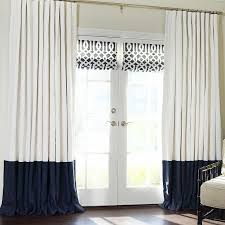 White Curtains With Blue Trim Decorating Home Vertical Colorblock Faux Silk Blackout Curtain Panel