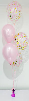 balloon delivery island light pink and gold confetti balloon bouquet aubrielle s 1st