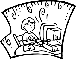 student at computer playing computer games coloring page
