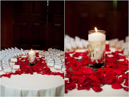 Black Table Centerpieces by Escort Cards Rose Petals And Candle Table Decor Red White And