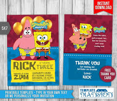 7 best spongebob invitation printables images on pinterest
