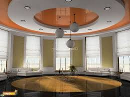 master bedroom false ceiling designs with round lamp for brown